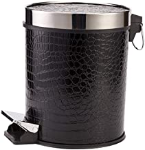 Leather Recycling Bin Pedal Trash Can with Lid Kitchen 12L Container Garbage Can Bedroom Bathroom Large Debris Bucket Kitc...