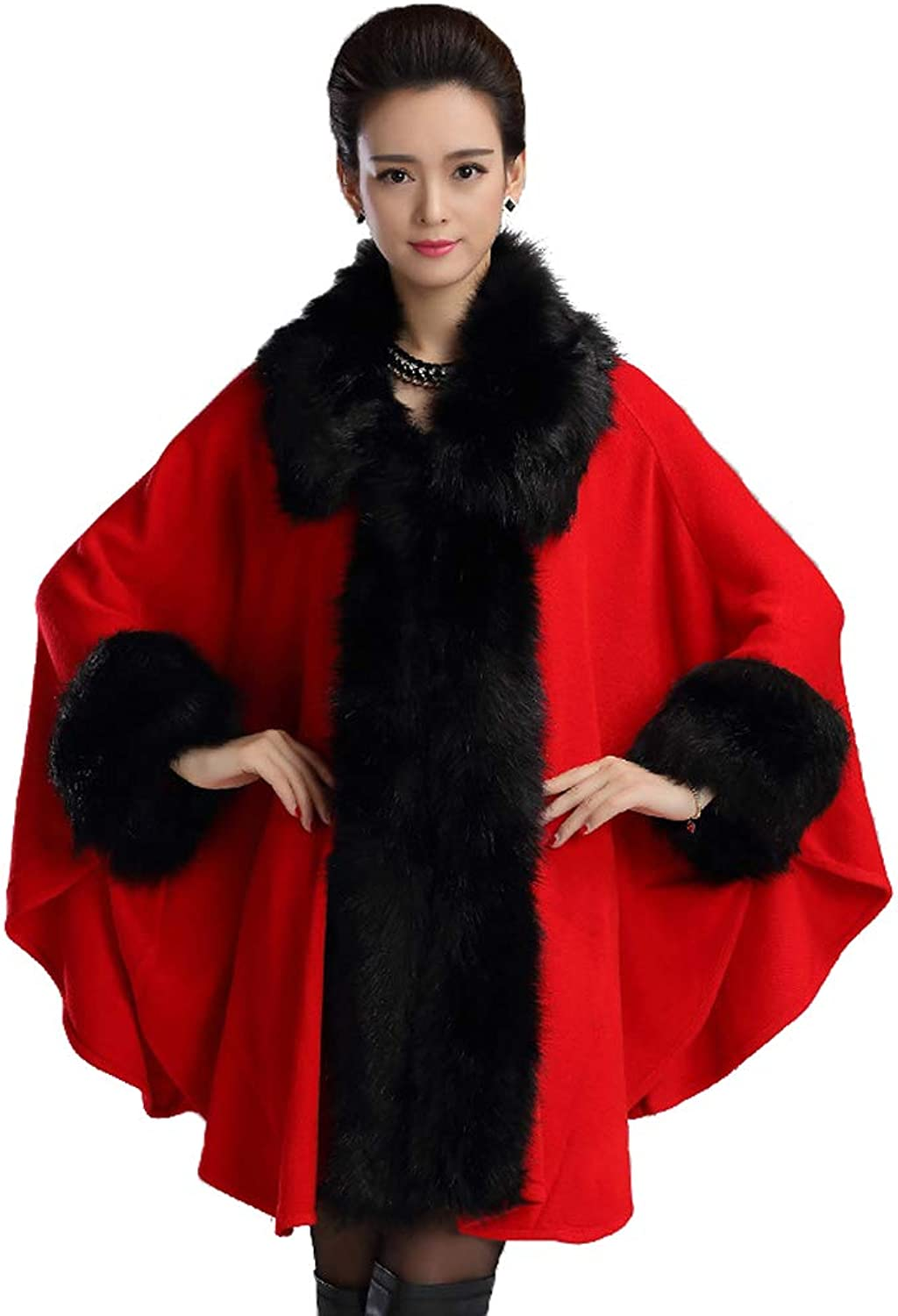 Fenghuavip Lapel Pashmina Shawls and Wraps Faux Fur Wedding Cloak for Bridals