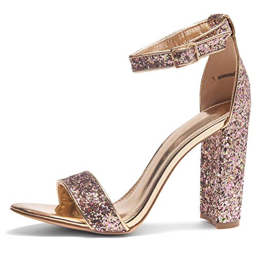 Herstyle Rosemmina Womens Open Toe Ankle Strap Chunky Block High Heel Dress Party Pump Sandals Rose Gold Glitter 9