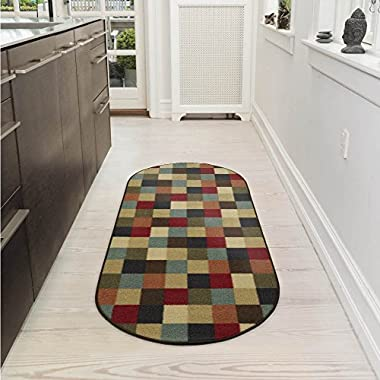 Ottomanson Ottohome Collection Contemporary Checkered Design Non-Skid Rubber Backing Modern Area Rug, 2' X 5' Oval, Multicolor