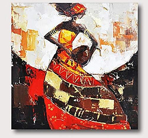 Olieverfschilderij op canvas handgeschilderd, abstracte mensen afbeelding schilderij, cognac jurk Afrikaanse zwarte vrouw, luxe grote vintage moderne wooncultuur voor woonkamer slaapkamer kantoor hote 120×120 cm