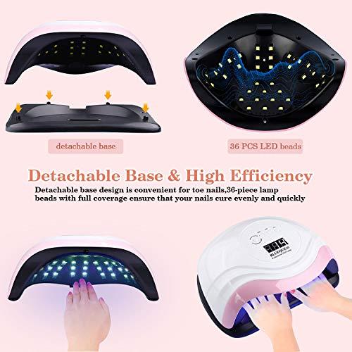 Lámpara de uñas LED UV 168W, Secador de uñas para esmalte de gel, Lámpara de uñas de gel con 45 cuentas de luz, Luz de uñas LED para uñas de gel con sensor automático y 4 temporizadores