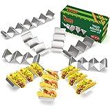 Soporte para tacos, apto para horno y lavavajillas, de acero inoxidable, con asas, juego de 10 unidades, para rellenar y servir tacos con facilidad, por Fiesta Kitchen