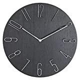 PuHai 14 inch Modern Minimalist Wall Clock Silent and Non-Ticking Imitation Wood 3D Round Stereo Digital Indoor Clock, Family Living Room, Kitchen, Bedroom, Office, School, Hotel (Black)