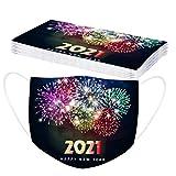 10 Stück Silvester Erwachsene Einmal Gesichtsbandana Weihnachtsmotiv 2021 Frohes Neues Jahr Drucken Atmungsaktiv 3-Schicht-Filter Staubdicht Bandana (C)