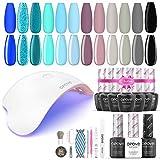 Gel Nail Polish Kit with UV Light, opove Soak Off Nail Gel Kit with LED Nail Lamp Nail Art Set - Ocean Blue 12 Colors - Best Reviews Guide