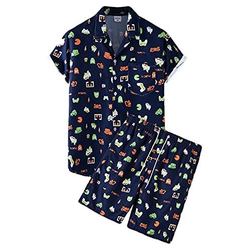 Conjunto Playa Hombre Verano con Cuello En V Estampado Moda Botón Tapeta Hombre Conjunto Cordones Bolsillos Vintage Manga Corta Hombre Shirt Hawaii Hombre Shirt Pantalones Cortos B-TZ52 XXL