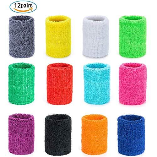 Czemo 12 Pares Muñequeras Deportivas Pulseras de algodón Coloridas Sweatband para Tenis...