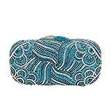 WSNDY Bolso de Noche Bolso de Mano de Cristal para Mujer Bolsos de Noche Fiesta Brillantes Bolso Nupcial De Boda (Color : Blue, Size : S)