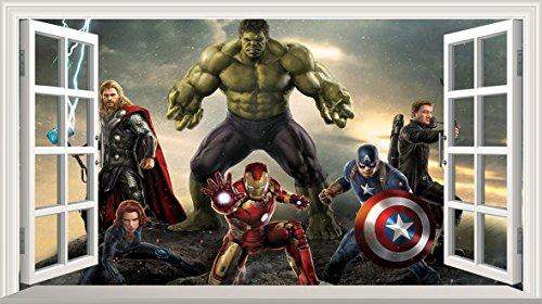 Marvel Avengers Superhero V305 3D Magic Window Wall Sticker Self Adhesive Poster Wall Art Size 1000mm wide x 600mm deep (large)