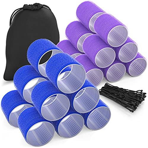 Tangobird Hair Rollers 24 Pack - 2 sizes | Jumbo Hair Rollers Hair Curlers For Long Hair | Self Grip Velcro Rollers For Hair | Heatless Hair Curlers For Long Hair with Travel Bag & Pins| Blue & Purple