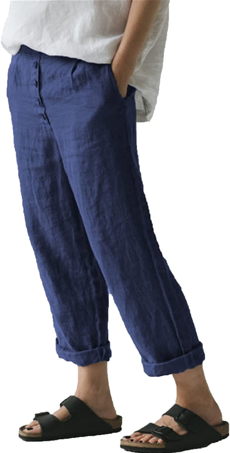 Women's Casual Linen Straight Leg Pants Flax Relaxed-Fit Elastic High Waist Casualpants Lady Beach Pockets Trousers (Large,Navy Blue)