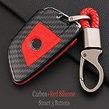 QCTDM Cubierta de la Llave del Coche para para Remote Auto Folding Key Cover Case Shell para BMW X1 X5 X6 F15 F16 1 5 7 Series 2016-2018 Blade Series Carbon ABS Key Bag Set, Carbono, Rojo