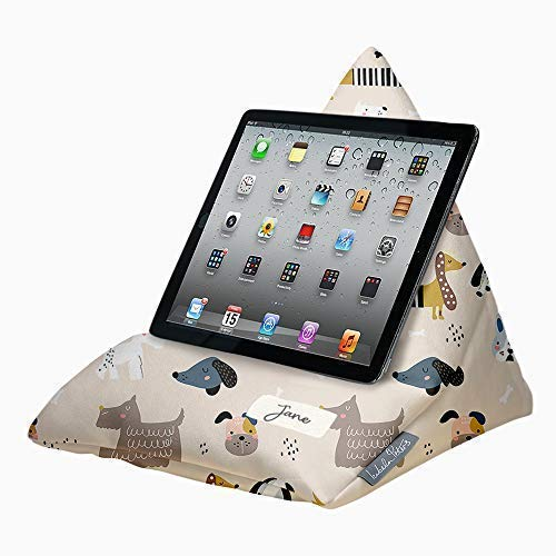 Personalised Designer iPad, Tablet, eReader, Phone Bean Bag Cushion Stand - Soft to Touch Velvet - Dogs - Supports All Devices At Any Angle