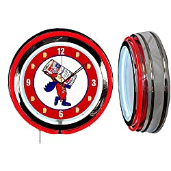 Checkingtime LLC 19 Bud Man Budweiser Beer Neon Clock, RED Outside Tube, Two Neon Tubes