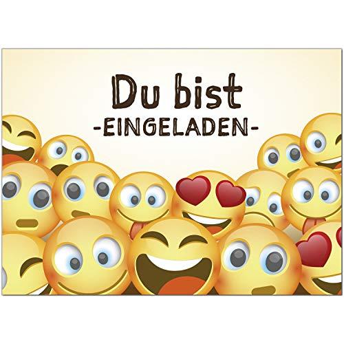 16 Einladungskarten zum Kindergeburtstag Motiv: Emoji Smiley Lustige Gesichter - Einladungen für Kinder zum Geburtstag im Set