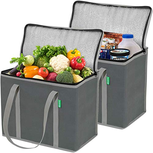Insulated Reusable Grocery Bags - 2 Pack (Gray) - X Large, Premium Quality Cooler Bag with Solid...