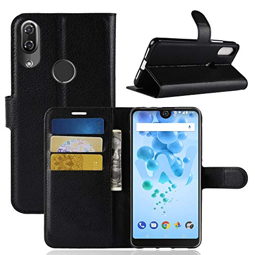 Ycloud Tasche für Wiko View 2 Pro Hülle, PU Kunstleder Ledertasche Flip Cover Wallet Hülle Handyhülle mit Stand Function Credit Card Slots Bookstyle Purse Design Schwarz