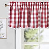 CAROMIO Buffalo Plaid Check Pom Pom Valance Curtains for Kitchen Windows Small Cafe Curtains, Red, 52x15 in
