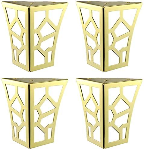 4 piezas de patas de muebles con diseño dorado, herrajes para muebles, patas de metal con diseño hueco, patas de armario, patas de sofá, elevadores de muebles, mesa, sofá, escritorio, patas de ca