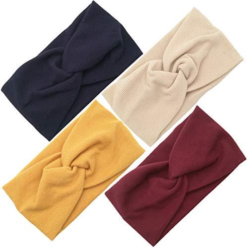 Diademas para Mujer Elástica Turbantes Flor Impresión Diademas Deporte Nudo Banda para Cabello Yoga Cabeza Wraps (4pcs Algodón Diademas)