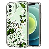 MOSNOVO Magnolia Floral Flower Pattern Designed for iPhone 12 Mini Case 5.4 Inch,Clear Case with Design Girls Women,TPU Bumper with Protective Hard Case Cover