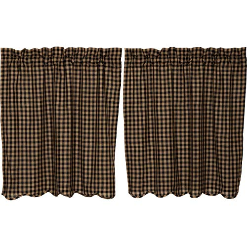 VHC Brands Check Scalloped Tier Set of 2 L36xW36 Country Curtains, Black and Tan