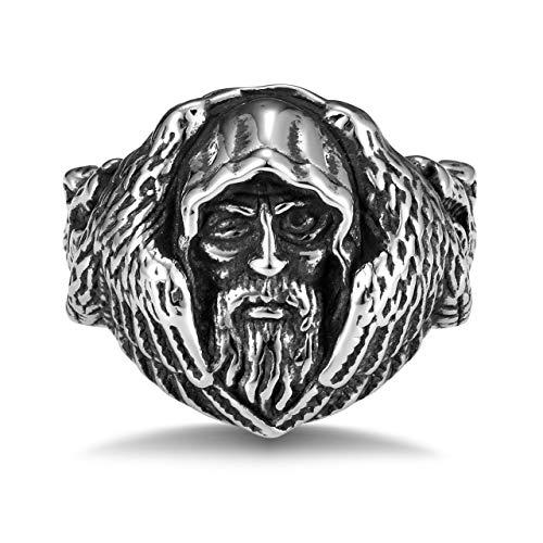 PiercingJak Mens Norse Mythology Ring Nordic Viking Odin Huginn and Muninn Raven Wolf Amulet Ring Men Stainless Stee Scandinavian Amulet Ring Jewelry Z 1/2