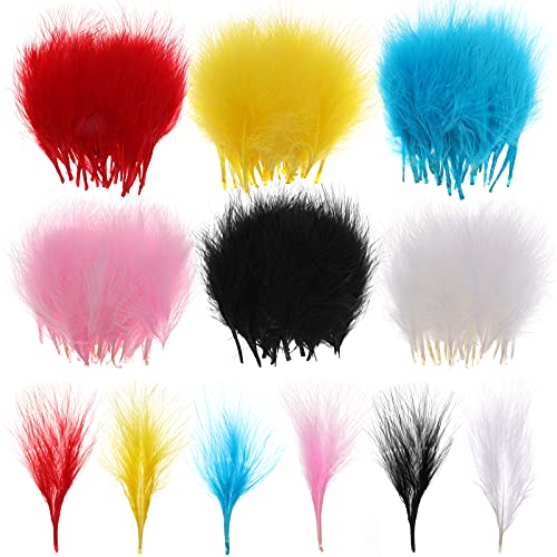 MWOOT 180 Piezas Artesanía Plumas Colores, 6 Colores Mini Plumas 8-12cm para Pendientes de Bricolaje Joyas Atrapasueños Haciendo Decoraciones para Hogar Blanco Negro Rojo Amarillo Rosa Azul