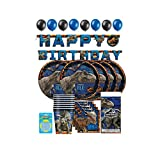 Hello Party! Jurassic World Birthday Party Supplies Complete for 16 Kids, Big Plates, Napkins, Tablecover, Cups, Hanger Banner, Balloons, Candles - jurassic park party supplies decorations