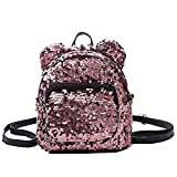 Ross Brown Mini Small Backpack for Womens Girls Sequins Mini Small Travelling Outdoor Picnic School...