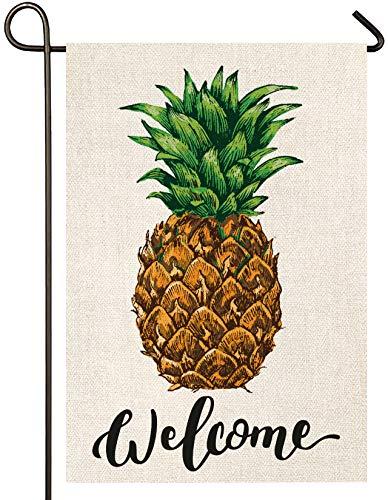 Atenia Burlap Pineapple Garden Flag, Double Sided Garden Outdoor Yard Flags for Summer Decor (Garden Size - 12.5X18)