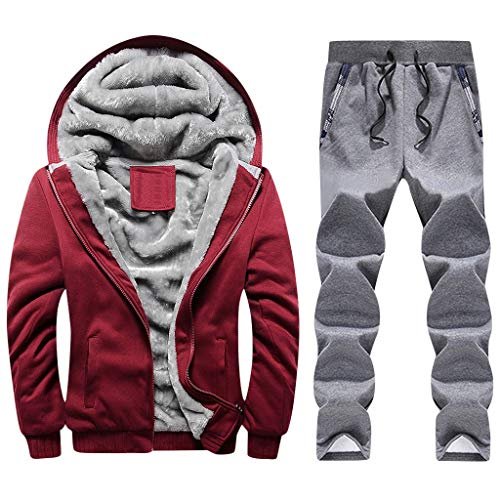 Lowest Prices! jin&Co Sport Running Hoodie Mens Winter Warm Fleece Zipper Sweater Jacket Outwear Coat Top Pants Sets