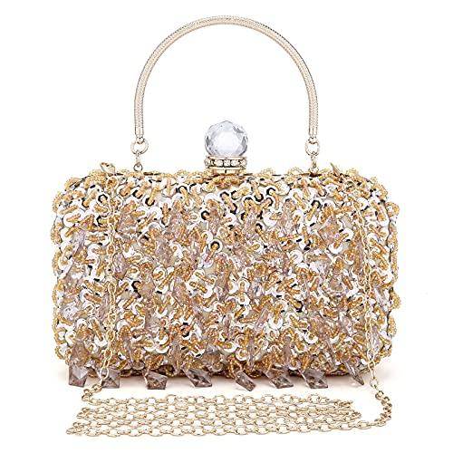 UBORSE Women Rhinestone Wedding Clutch Bag Bling Sequin Evening Purse Vintage Crystal Beaded Cocktail Party Handbag Gold