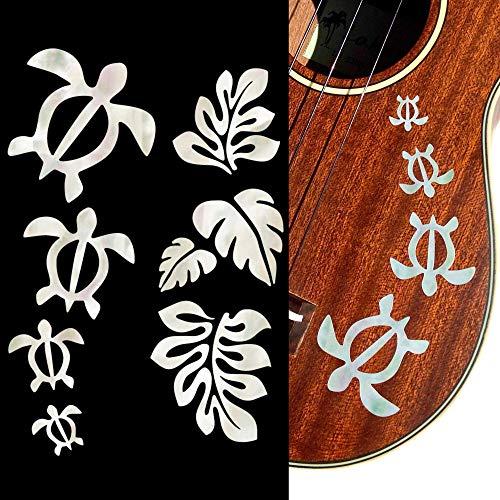 Jockomo Honu/ホヌ・ファミリー & ハワイアン Leaf(ホワイトパール)ウクレレにピッタリ インレイステッカー
