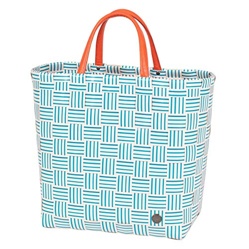 Handed By - Shopper, Tasche , Einkaufstasche - Joy Shopper - Kunststoff - petrol / orange - 35 x 31 x 18 cm
