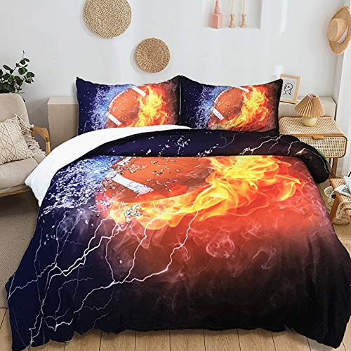 USTIDE Rugby Bedding Kids Duvet Cover Super Soft Quilt Cover Comfortable Skin-friendly Boys Girls Duvet Cover Breathable Duvet Cover King Size