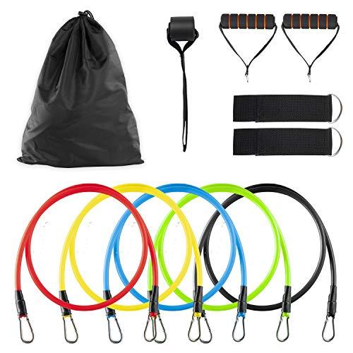 Climaqx Widerstandsband Set | 11-teilig | Fitness Resistance Sets | 5X Widerstände inkl. Griffe & Fußschlaufen und Türanker, Expander Set, Fitness-Bänder für Kraftraining, Trainingsbänder für Zuhause