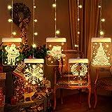 BLOOMWIN Guirnaldas Cortina Luces USB 54 LEDs 1.5m Blanco Cálido 5 Piezas Acrílico Colgantes Navideñas Impermeable Lámpara Cadena Luces de Navidad para Balcón, Ventana, Pared, Escaparate, Boda, Fiesta