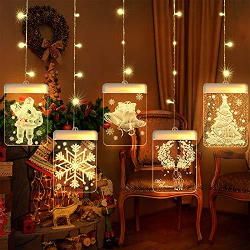 BLOOMWIN Catena Luminosa 3D Ciondolo Natalizio in Acrilico USB LED Luci Stringa 1.5m 54 LEDs per Decorazione Camera da Letto Natale ecc Bianco caldo