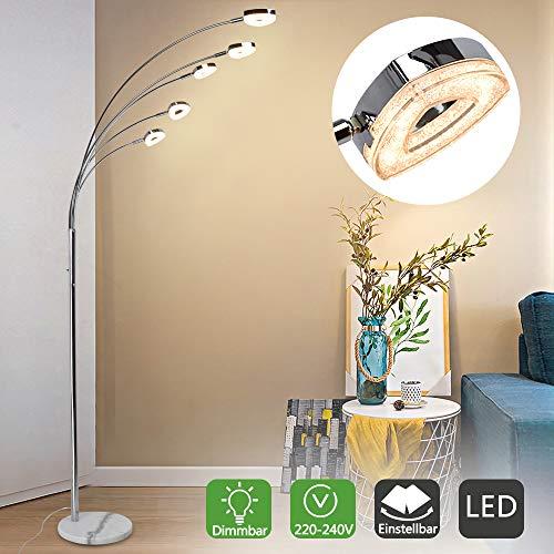 PADMA LED Stehlampe modern dimmbar 5 Flammig, Stehleuchte wohnzimmer mit 3 Stufe Helligkeiten, 5 * 4W Herzförmig Licht Schwenkbar, 1600LM 3000K Warmweiß für Schlafzimmer, Ecke, Studio, Büro