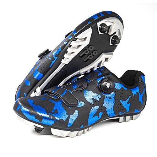 Calzado De Ciclismo Antideslizante para Hombre, Calzado De Bicicleta De Montaña Y Carretera De Fibra De Carbono Transpirable (43,Azul1)
