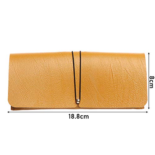 Fashion Portable Drawstring Soft Foldable Buckle Eyeglasses Storage Pouch PVC Leather Glasses Case Bag Sunglasses Box(pink)