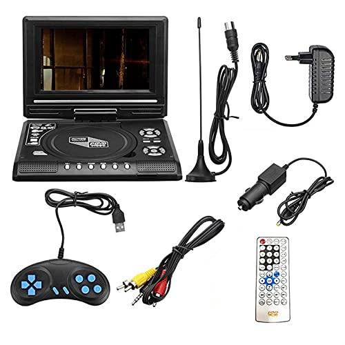 Portátil DVD Jugador, 7.8' DVD Jugadores con pantalla giratoria de 7'para automóvil, niños y adultos, 7 idiomas 5 horas de batería recargable Los jugadores apoyan a Audio Jack/DAKOTA DEL SUR Tarjeta