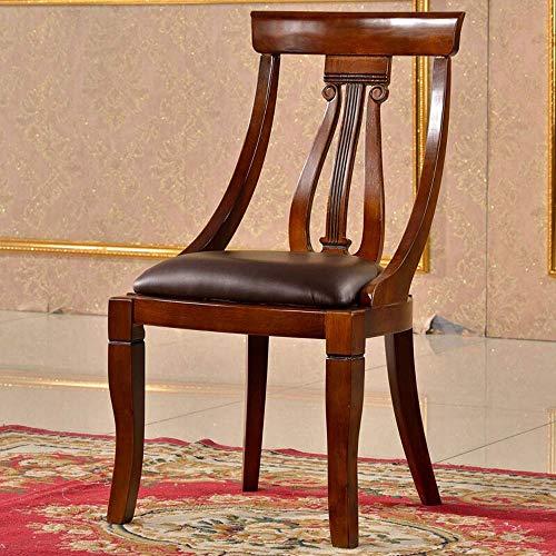 YUXIwang Silla Silla de Comedor Silla de Cuero Americanos Presidente Balcón Ocio café Negociación Silla sillas fácil Montaje 2 Paquete de Cocina (Color: Marrón, Tamaño: 48x45x94cm)