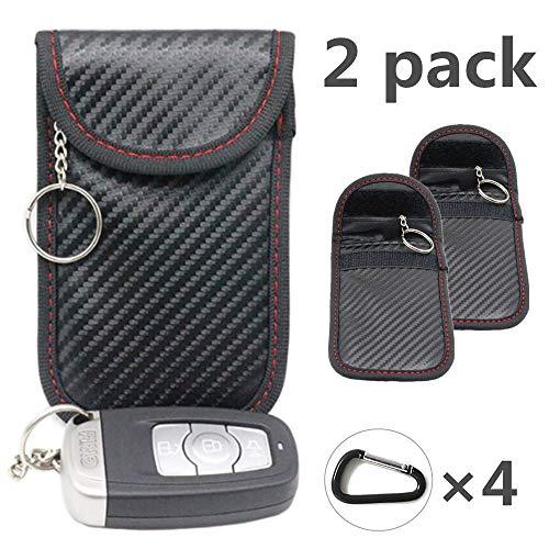 2X RFID Keyless Go Schutz Fob Autoschlüssel Tasche Signalblocker Faraday Tasche Anti-Strahlung Abschirmung Brieftasche Fall für Datenschutz – WiFi, GSM, LTE, NFC & RFID(Rot schwarz)(EINWEG)
