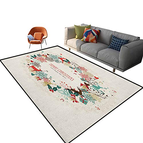 Christmas Bathroom mats and Rugs Vintage Garland Inspired Round with Hand Drawn Style Cute Seasonal Figures Print Area Rugs for Living Room Kid Girls Carpets 5'x 8'