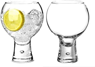 Durobor Alternato Set of 2 Gin Glasses, Short Stem Bubble Base Glasses 19oz 540ml   Balloon Gin Spanish Copa