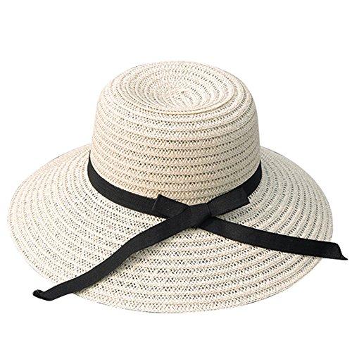 ZUMUii Butterme Femmes bowknot Grand Brim paille Chapeau de soleil Protection solaire Chapeau