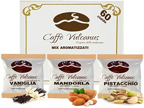 Caffè Vulcanus - Verkostungsset 60 Kaffeepads mit ESE44-Geschmack - Verkostung von Vanille, Mandel und Pistazienkaffee